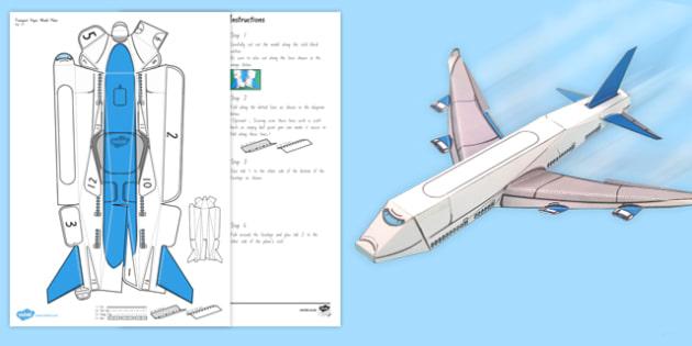 Transport Paper Model Plane - nz, new zealand, transport, paper, model, plane