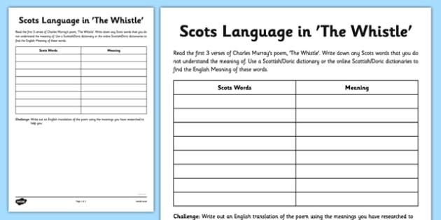 Charles Murray The Whistle Poem Activity Sheet - cfe, charles murray, scots, poem, poetry, the whistle, activity sheet, worksheet