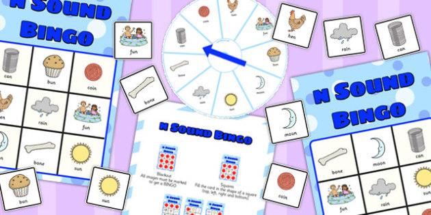 Final 'N' Sound Spinner Bingo - final n, sound, spinner, bingo
