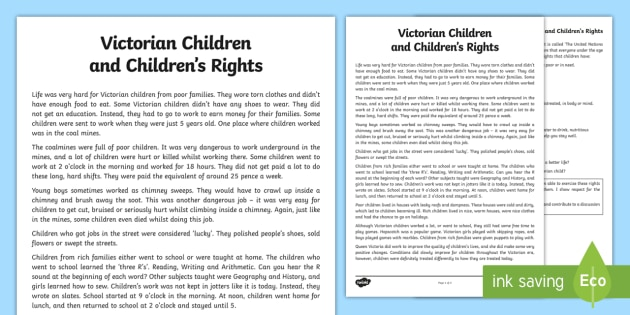 Victorian Children and Children's Rights Information Sheet CfE - CfE, Social Studies, History, Victorians, Victorian Children, Coalmines, Children's Rights