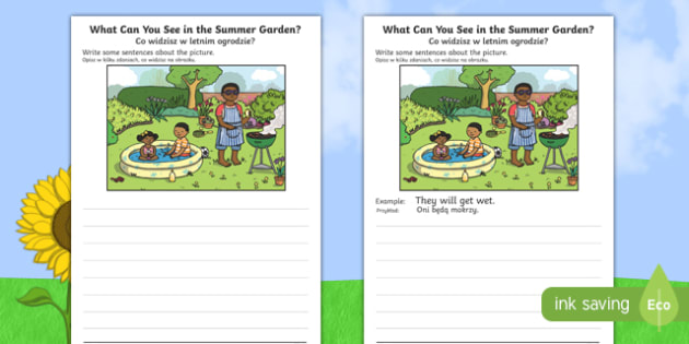Summer Garden Writing Stimulus Picture English/Polish - Writing, independent, early years, EYFS, literacy, CLL, seasons,Polish-translation
