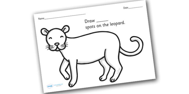 Leopard Spots Counting and Colouring Sheet - safari, safari animals, on safari, safari colouring sheets, safari counting sheets, safari numeracy, counting