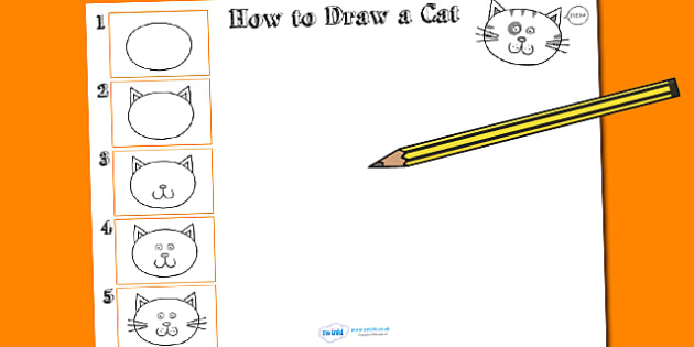 How to Draw a Cat Worksheet - drawing, animals, wet play, design