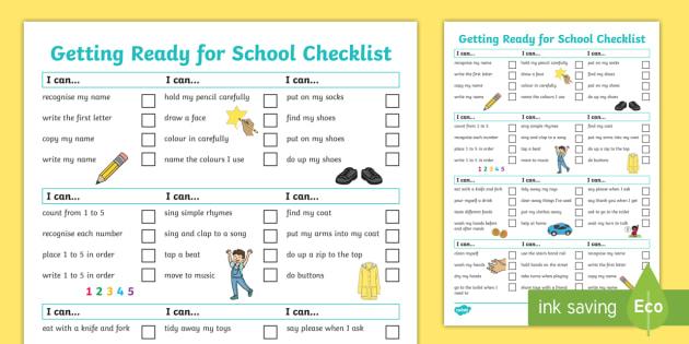 NEW My Starting School Checklist I Am Independent School