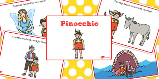 Pinocchio Story Sequenging - Pinocchio, Geppetto, Blue Fairy, wand, father, boy, puppet, sequencing, story sequencing, story resources, A4, cards,  puppet show, cat, dog, ears and tail, nose, magic tree, coins, raft, school, son, child, shrink, story