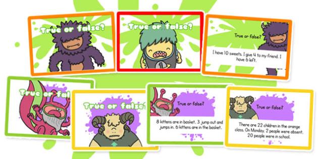 True or False Number Statement Challenge Cards - challenge cards