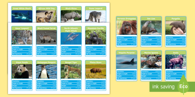 Endangered Animals Top Card Game - endangered, animals, top card, top trump, card, game