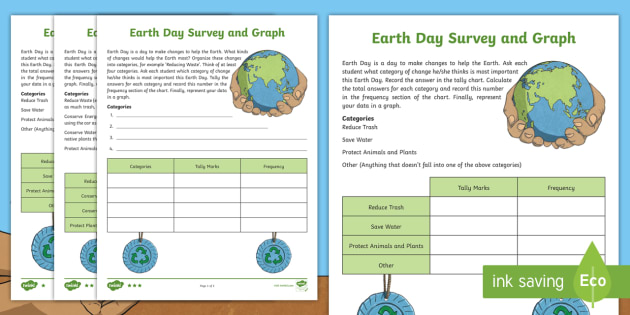 NEW Earth Day Survey and Graph Differentiated Activity
