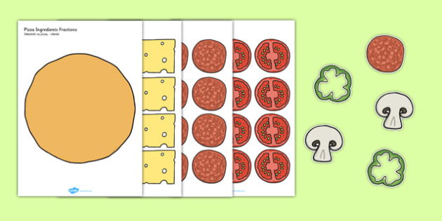 Pizza Ingredients Fractions Polish Translation - polish, fraction, food, maths, numeracy