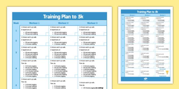 Training Plan to 5k Poster - training plan, to 5k, train, excersise, plan, jog, walk, rest, stretch, run, 5km