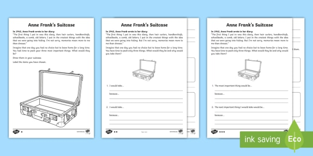 Anne Franks Suitcase Read And Draw Worksheet Activity Sheet