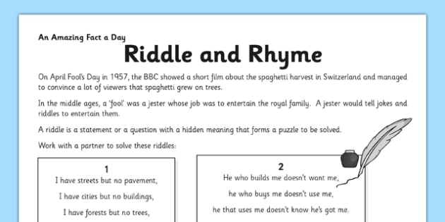 Riddle and Rhyme Worksheet / Activity Sheet - riddle, poem
