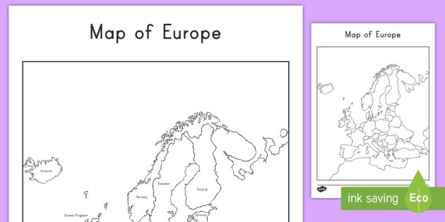 map of europe with and without names worksheet activity sheets. Black Bedroom Furniture Sets. Home Design Ideas