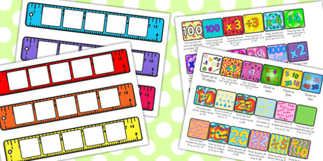 Maths Ruler Target Cards - targets, numeracy, math, rulers, aims