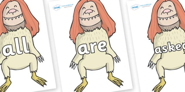 Tricky Words on Wild Thing (2) to Support Teaching on Where the Wild Things Are - Tricky words, DfES Letters and Sounds, Letters and sounds, display, words