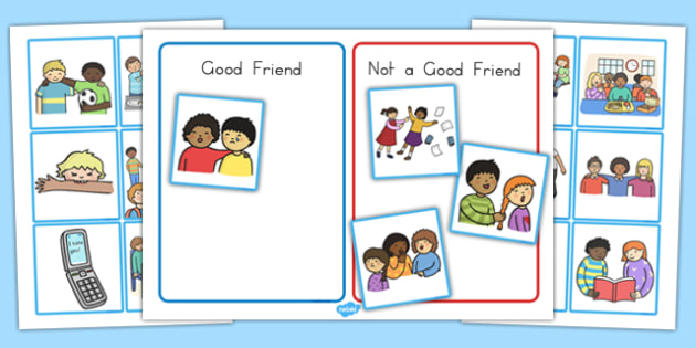 Good Friend Discussion and Sorting Cards - good friend, discussion, sorting cards, sorting, cards