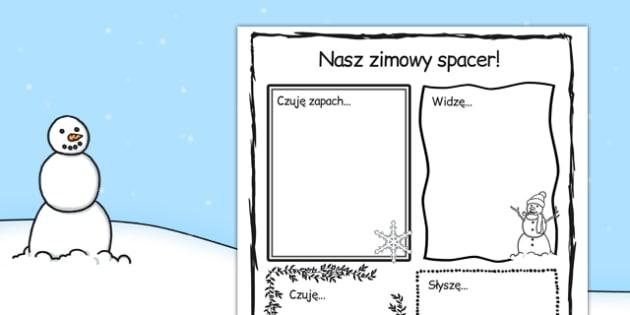 Arkusz Nasz zimowy spacer po polsku - wycieczka, opis