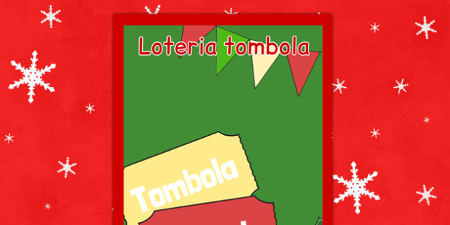 Świąteczny plakat Loteria tombola po polsku - kiermasz, zima