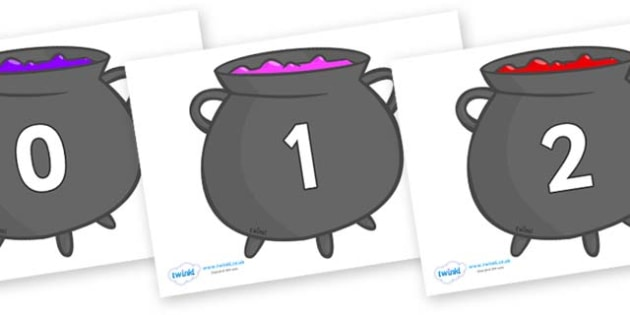 Numbers 0-50 on Cauldrons (Plain) - 0-50, foundation stage numeracy, Number recognition, Number flashcards, counting, number frieze, Display numbers, number posters