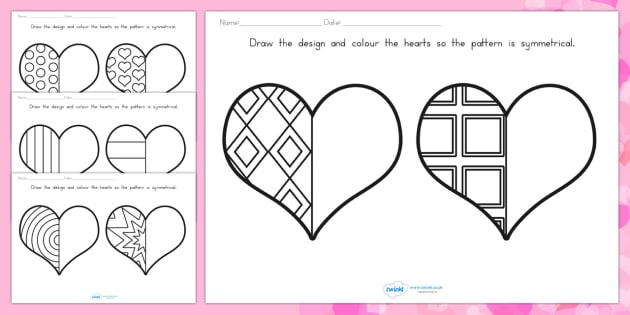 Day Heart Symmetry Sheets  valentines day symmetry