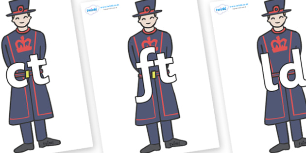 Final Letter Blends on Beefeaters - Final Letters, final letter, letter blend, letter blends, consonant, consonants, digraph, trigraph, literacy, alphabet, letters, foundation stage literacy