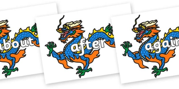 KS1 Keywords on Chinese Dragons - KS1, CLL, Communication language and literacy, Display, Key words, high frequency words, foundation stage literacy, DfES Letters and Sounds, Letters and Sounds, spelling