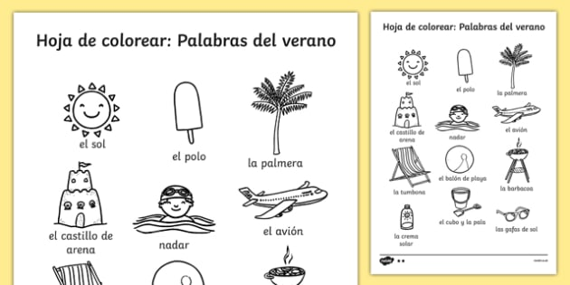 Summer Differentiated Words Colouring Sheet Spanish - seasons, colour, colering, colourng, seaons, couloring, summertime, Timw