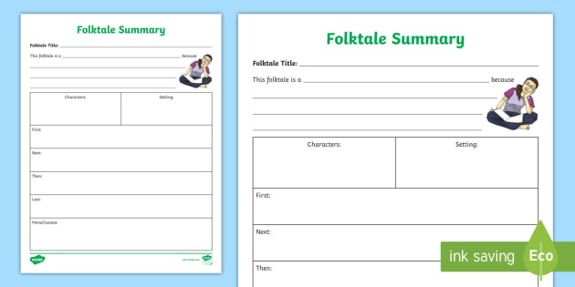 NEW Folktale Summary Activity Sheet Folktales Fables