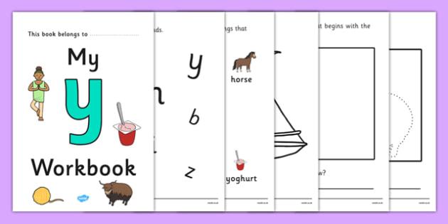 My Workbook y lowercase - workbook, y sound, lowercase, letters, alphabet, activity, handwriting, writing