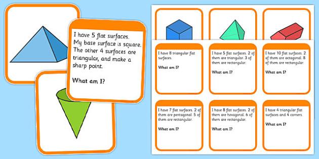 3D Shape Matching Cards - shape matching cards, 3d shapes, 3d shape matching game, shape matching game, 3d shape image and description matching cards, ks2