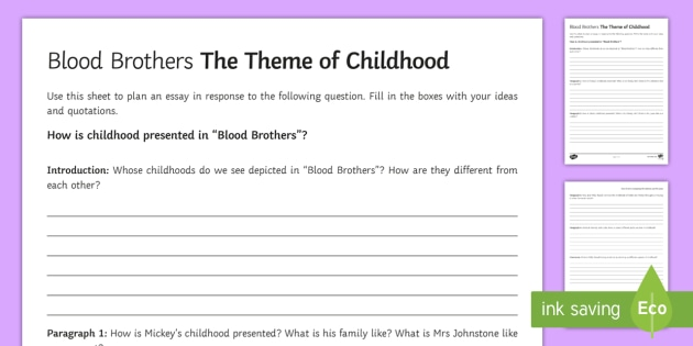 blood brothers mrs johnston and mrs lyons la essay plan childhood la essay plan activity sheet activity sheet to support teaching on blood brothers by willy russell