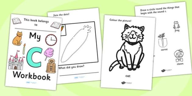 My Workbook c lowercase - education, home school, child development, children activities, free, kids, worksheets, how to write, literacy