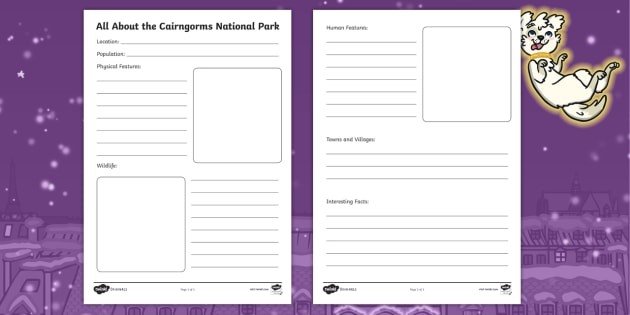 All About The Cairngorms National Park Fact File Writing Frames