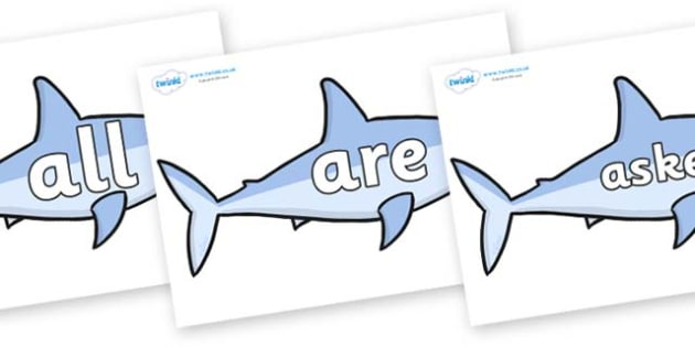 Tricky Words on Sharks - Tricky words, DfES Letters and Sounds, Letters and sounds, display, words