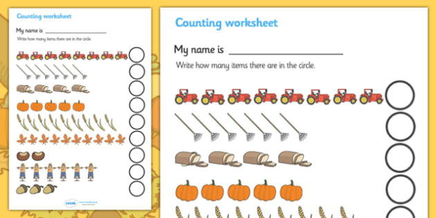 my counting worksheet autumn counting worksheet autumn. Black Bedroom Furniture Sets. Home Design Ideas