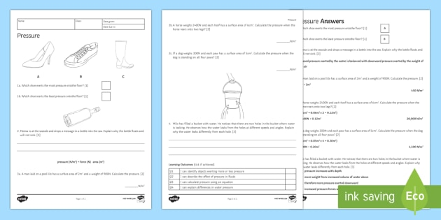 KS3 Pressure Homework Activity Sheet - Homework, pressure, force, mass, weight, newtons, newton, pascal, pascals, solid, solids, fluid, flu