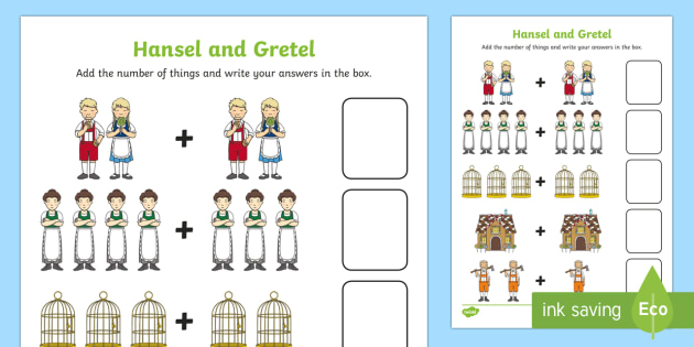 Hansel and Gretel Addition Sheet - hansel and gretel, addition sheet, addition, hansel and gretel worksheet, addition worksheet, maths, numeracy, numbers