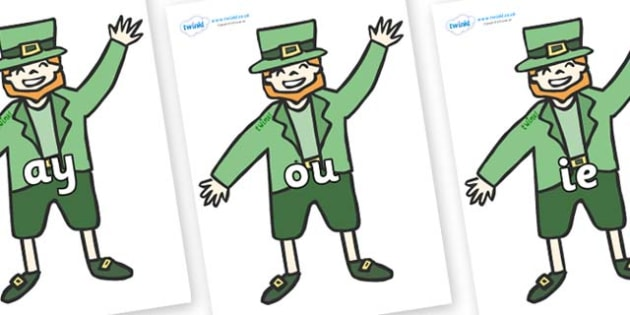 Phase 5 Phonemes on Leprechauns - Phonemes, phoneme, Phase 5, Phase five, Foundation, Literacy, Letters and Sounds, DfES, display