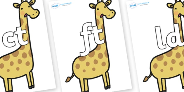 Final Letter Blends on Giraffes - Final Letters, final letter, letter blend, letter blends, consonant, consonants, digraph, trigraph, literacy, alphabet, letters, foundation stage literacy
