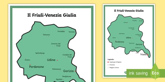 Cartina Fisica Del Friuli Venezia Giulia.Scuola Primaria Il Friuli Venezia Giulia Cartina Politica