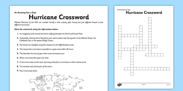 hurricane crossword worksheet activity sheet hurricane fact. Black Bedroom Furniture Sets. Home Design Ideas
