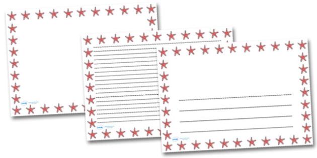 Starfish Landscape Page Borders- Landscape Page Borders - Page border, border, writing template, writing aid, writing frame, a4 border, template, templates, landscape