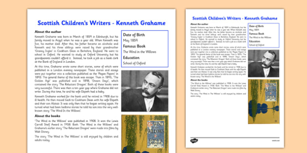 Scottish Children's Writers Kenneth Grahame Information Sheet - CfE, Literacy, Scottish Children's Writers, Kenneth Grahame, The Wind in the Willows