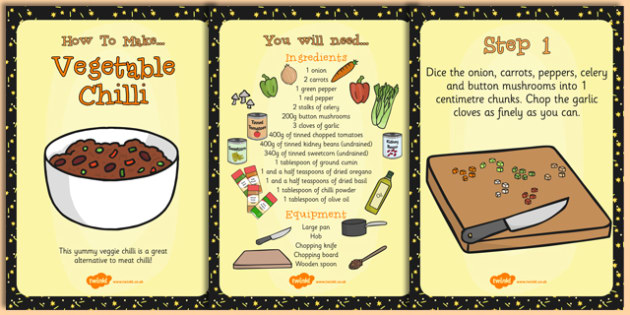 Vegetarian Chilli Recipe Cards - Vegetarian, Chilli, Recipe, Food