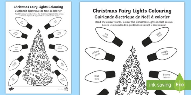 Christmas Fairy Lights Illustration.Christmas Fairy Lights Colouring Page English French