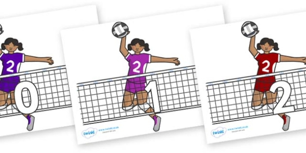 Numbers 0-31 on Volleyball - 0-31, foundation stage numeracy, Number recognition, Number flashcards, counting, number frieze, Display numbers, number posters