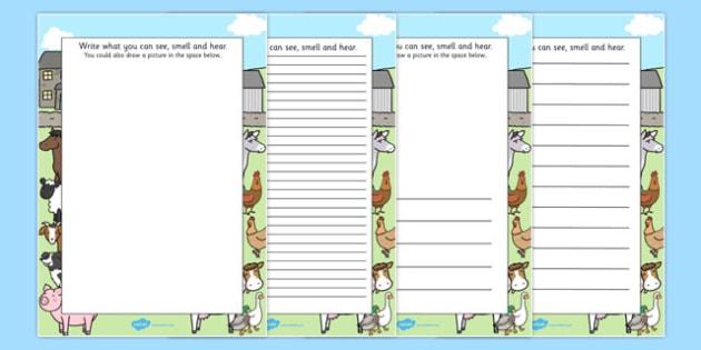 Farm Trip Senses Writing Frames - farm trip, sense, writing frames