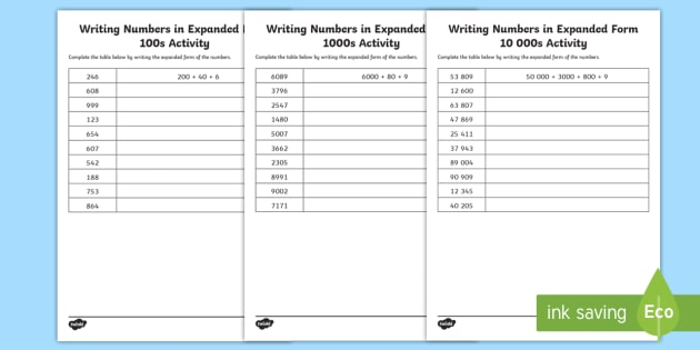 Writing Numbers In Expanded Form Differentiated Worksheet
