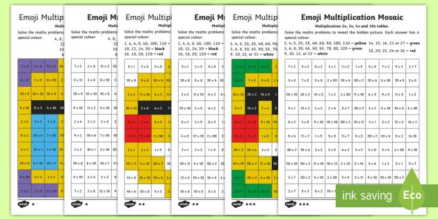 ks1 emoji multiplication mosaic differentiated worksheet activity sheets. Black Bedroom Furniture Sets. Home Design Ideas