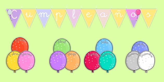 Cumpleaños Balloon Themed Birthday Display Pack Spanish - spanish, birthday, display, pack